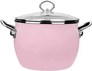Alician 22CM Enamel Soup Pot Home High Temperature Resistance Nonstick Cooking Pot for Induction Cooker Pink 22cm