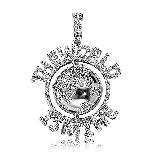 Fantex Iced Out The World Is Mine - Colgante con cadena de cuerda de hip hop, chapado en oro brillante con diamante de laboratorio, collar único para hombres y mujeres