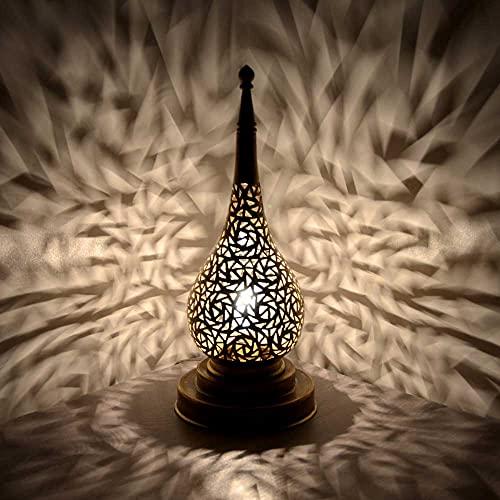 Lámpara de mesa oriental Chemia, color dorado, altura de 32 cm, moderna, de latón, hecha a mano, casquillo E14, incluye interruptor, 1 foco, vintage, 350350