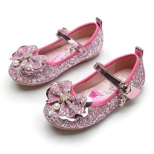 Eleasica Zapato de Cosplay, Plantilla Dibujo Princesa Elsa, Cierre de Velcro, Calzado Adornado Lazo con Perlas Brillantes Lentejuelas, Regalo de cumpleaños, Carnaval, Disfraz de Halloween