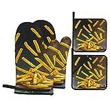 Guanti da Cucina Resistenti al Calore e Set di Presine Sale in grani di patate fritte croccanti fatte in casa Adatti per Cottura,Cottura al Forno,Grigliate