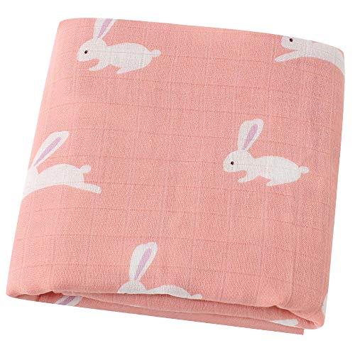 LifeTree Musselin Swaddle Pucktücher aus Puckdecken | XL Größe 120x120 cm Babydecken Bambus Baumwolle | Mullwindeln für Mädchen