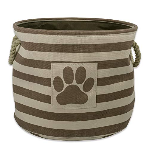 Bone Dry Stripes with Paw Patch Collapsible Polyester Pet Storage Bin, Round Small-12 x 12 x 9, Brown