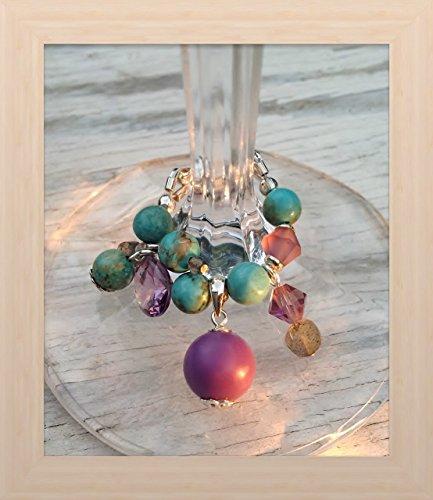 Genuine Turquoise and Phosphosiderite Contemporary Design Wine Glass Charm.