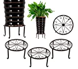 3 Pack Metal Potted Plant Stands with Saucer for Indoor Corner and Outdoor Plants 9 inches Flower Pot Planter Holder, Bronze Color, Round