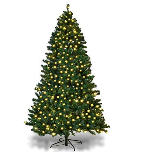 Goplus Albero di Natale Verde Automatico con Luci LED PVC Supporto in Metallo 210-240cm Luci Bianco Caldo (240)