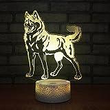 Luz de noche, luz estéreo 3D para niños, luces LED de colores con forma de lobo, lámpara de...
