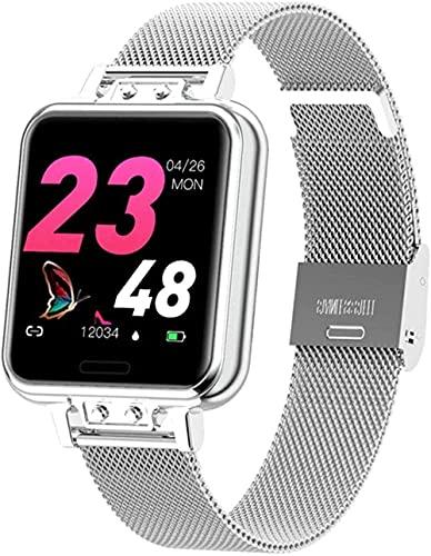 Reloj inteligente para mujer, pulsera inteligente de moda, frecuencia cardíaca, presión arterial, contador de pasos, recordatorio de llamadas, sueño, deportivo, plateado, plateado