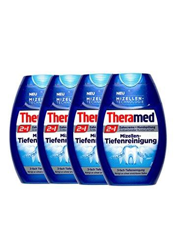 4x Theramed 2 in 1 Zahncreme + Mundspülung Mizellen-Tiefenreinigung 75 ml