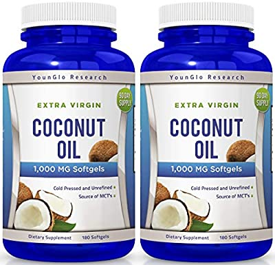 Coconut Oil Capsules - 180 Extra Virgin Softgels 1000 mg - Great Pills for Hair, Skin, Energy and Weight Management by Young Life Research