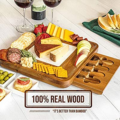 PREMIUM WOOD CHEESE BOARD, Marble Cutting Board, Cheese Knife Set, 4 Knives, Goods Accessories Tray Slides in CheeseboardPremium Wood Cheese Board & Charcuterie Board, Cheese Knife Set, Marble Plate from