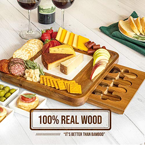 PREMIUM WOOD CHEESE BOARD, Marble Cutting Board, Cheese Knife Set, 4 Knives, Goods Accessories Tray Slides in CheeseboardPremium Wood Cheese Board & Charcuterie Board, Cheese Knife Set, Marble Plate