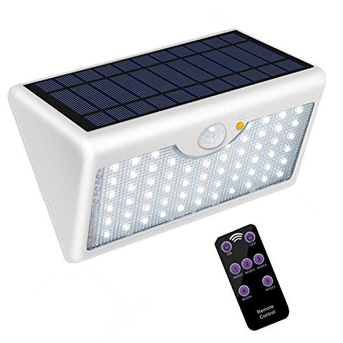 5 Modes Applique Solaire Exterieur Avec Télécommande, Super Lumineux 60 LED Sans Fil Détecteur De Mouvement Lampe De Sécurité 1300LM Imperméable à L'eau Pour Mur, Garage, (coque blanc, lumière blanc)