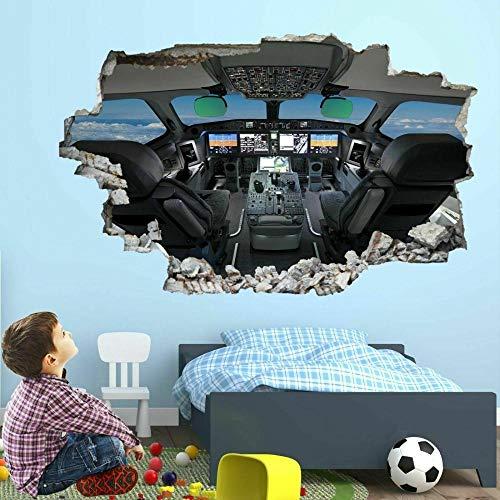 Avión, Cabina, Avión, Arte De Pared, Pegatinas, Mural, Calcomanía, Decoración De Dormitorio Para Niños agujero de la pared 50X70 cm