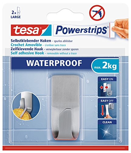 tesa Powerstrips Waterproof Haken Zoom Metall - Wasserfester Klebehaken aus Edelstahl für Badezimmer und Dusche
