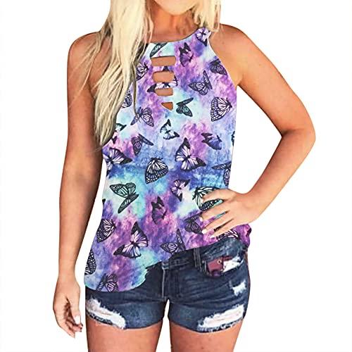 Camiseta de tirantes para mujer, elegante, sin mangas, estampado, chaleco de verano, túnica, suelta, informal, camiseta básica G-lila. 6 1/2 HS