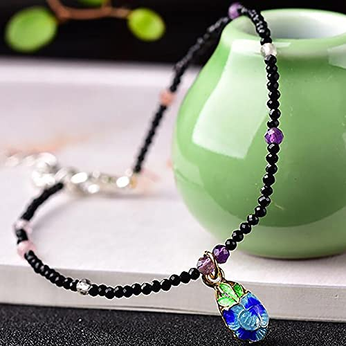 Feng Shui Anklet Natural Black Spinel Anklet Gemstone Foot Anklet Bracelet for Women Small Beads Anklet Healing Crystal Beach Foot Jewelry Adjustable Attract Wealth Money Good Luck
