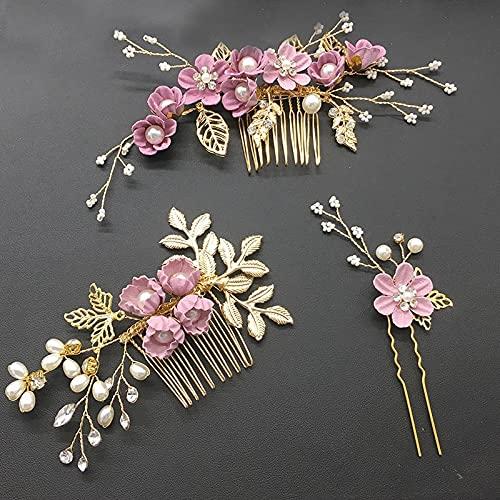Youjin Elegante tocado para el pelo, juego de horquillas para boda, adornos,...