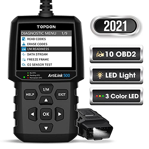 OBD2 Scanner TOPDON AL500 Code Reader Check Engine Diagnostic Tool with All OBD2 Functions, Turn Off MIL, Mode 6, O2 Sensor and EVAP Systems with LED on DLC, DTC Lookup for DIYers