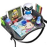 Reisetisch Knietablett Reisetablett Kinder Auto Kindersitz Spieltisch Kindertablett Einstellbar Multifunktion mit Multi-Taschen für Lange Autofahrten von YOOFOSS