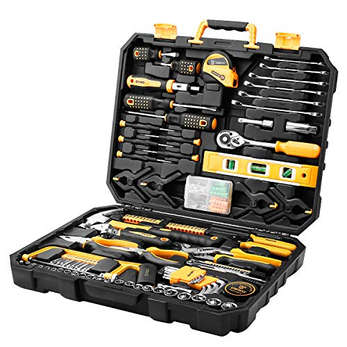 DEKOPRO 168 Piece Tool Set General Household and measure Tape Rule & Plastic Toolbox Storage Case Tool Kit with Rip Claw Hammer,Lineman's Plier