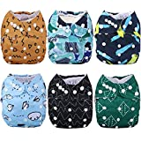 Anmababy Reusable 6 Pack Cloth Diapers, Adjustable, Waterproof, Washable Pocket Cloth Diaper Cover with 6 Bamboo Inserts and 1 Dry/Wet Bag for Baby Boy. (Geometry/CD6-006)
