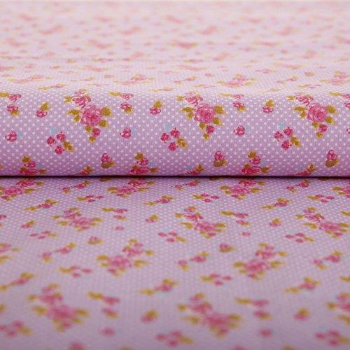 Hans-Textil-Shop 1 Meter - Stoff Meterware Rosen Blumen Punkte Tupfen Flieder Baumwolle (Blumenmuster, Nähen, Basteln)