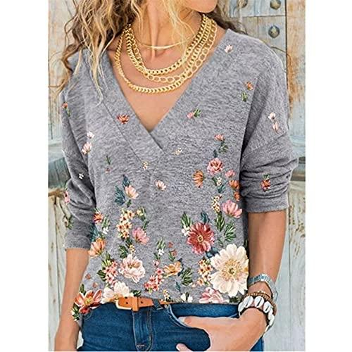 Camiseta con cuello en V de las mujeres con estampado de flores de otoño de manga larga casual de manga larga. vests (Color : Gray, Size : XX-Large)