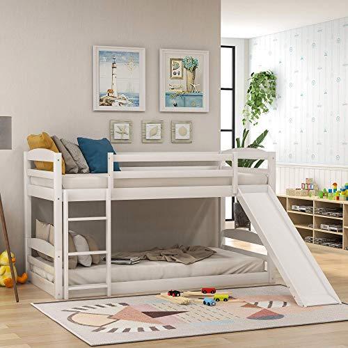 Niskie łóżka piętrowe ze zjeżdżalnią, podwójna drewniana rama łóżka piętrowego z drabiną dla chłopców, dziewcząt, dzieci i młodzieży (szare)