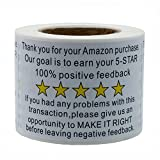 Hybsk 2'x 3' Amazon Thank You for Your Purchase Feedback Shipping Labels Adhesive Label 200 Per Roll