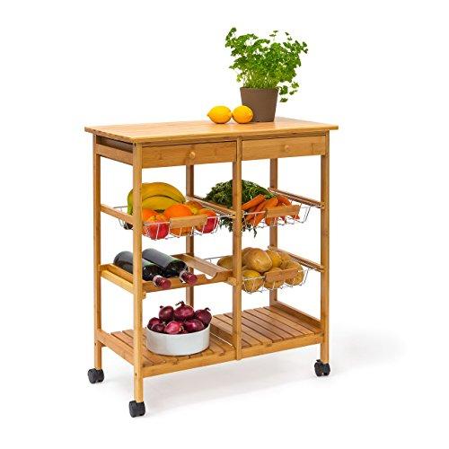 Relaxdays Küchenrollwagen James XXL H x B x T: ca. 80 x 67 x 37 cm Servierwagen mit Ablagen aus Bambus mit 2 Schubladen und 3 Körben als rollbarer Küchenwagen mit Weinregal bzw. Flaschenregal, natur
