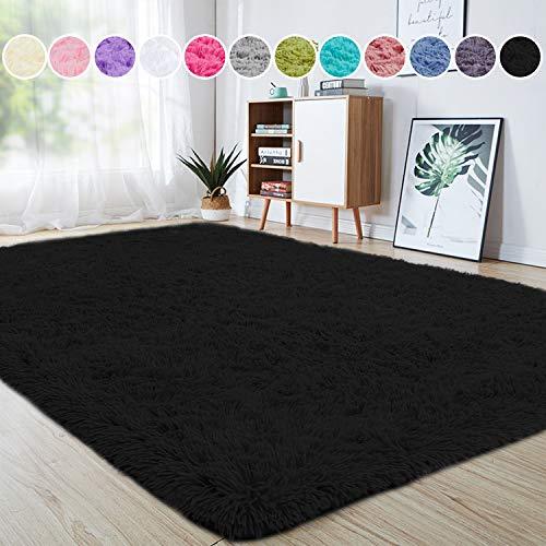 junovo Ultra Soft Area Rugs 5.3 x 7.5ft Fluffy Carpets for Bedroom Kids Girls Boys Baby Living Room Shaggy Floor Nursery Rug Home Decor Mats, Black