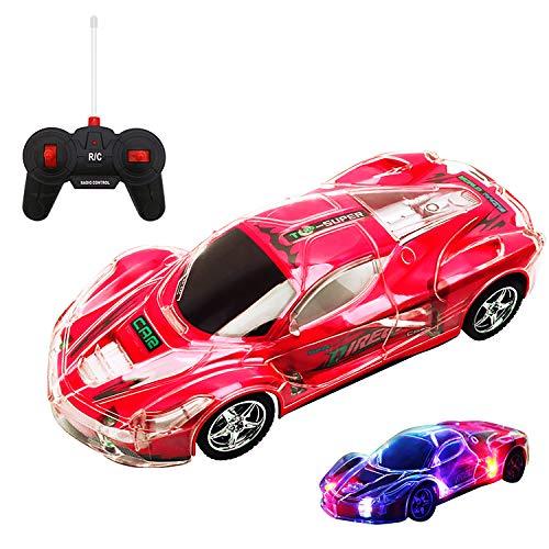 Kinder Spielzeugauto mit Fernbedienung Simulation Rennwagen mit 8 Bunten LED-Blinklichtern,Fernbedienung Beleuchtet Auto Rennsportwagen Rot