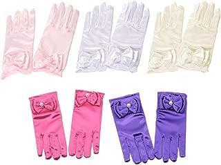 Toyvian 1 Paar Blumenm/ädchen Kinder Satin Handschuhe mit Schleife f/ür Prinzessin Kost/üm Zubeh/ör Hochzeit Party Bankett Wei/ß