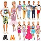 Festfun 5 Vêtements Casuel avec 2 Chaussures pour Poupée Ken + 3 Robes Chics pour Poupée Fille de 11,5 Pouces