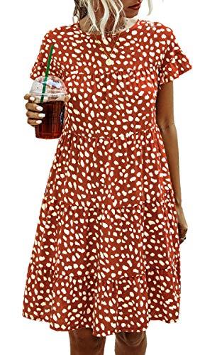 Spec4Y Damen Tunika Kleid Polka Dot Blumen Sommerkleid Kurzarm Rüschenärmel Babydoll T-Shirt Kleider Lose Plissee Minikleid 2006 Ziegelrot X-Large