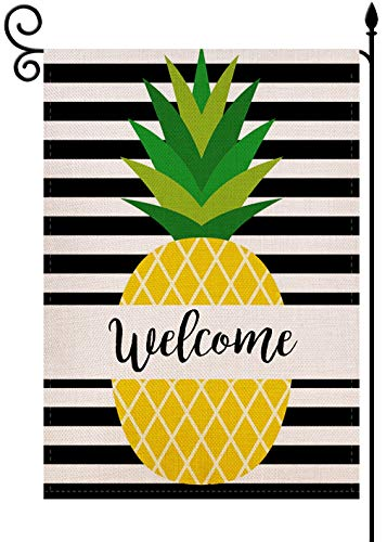 YaoChong Hello Summer Welcome Pineapple Stripes Garden Flag Vertical Outdoor Patio Farmhouse Seasonal Holiday Burlap Double Sided 12.5 X 18 Inch
