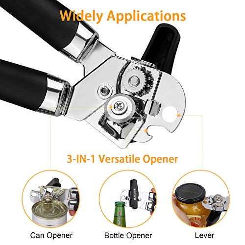 KZGRIT Manual Can Opener, Food-Safe Stainless Steel, Smooth Edge, Tin Lids Jar Bottle Caps Openers with Non-Slip Handle and Ergonomic Turning Knob for Elderly with Arthritis(Black)
