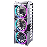 GeeekPi New Raspberry Pi Cluster Case, Raspberry Pi Rack Case Stackable Case with Cooling Fan 120mm RGB LED 5V Fan for Raspberry Pi 4B/3B+/3B/2B/B+ and Jetson Nano (12-Layers)