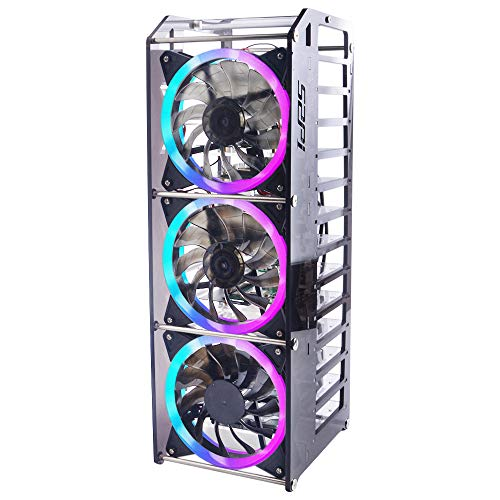 GeeekPi Raspberry Pi Cluster Case, Raspberry Pi Rack Case Stackable Case with Fan 120mm RGB LED 5V Fan for Raspberry Pi 4B/3B+/3B/2B/B+ and Jetson Nano (12-Layers)