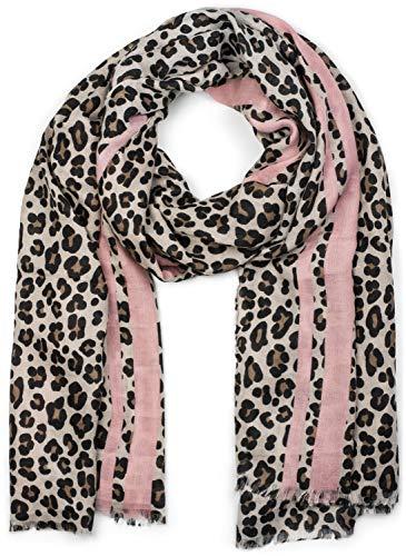 styleBREAKER Damen Schal mit Leo Muster, farbigem Streifen und Fransen, Tuch 01017082, Farbe:Braun-Rosa