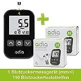Adia Diabetes-Starter-Set inkl. Blutzuckermessgerät mit 110 Blutzuckerteststreifen