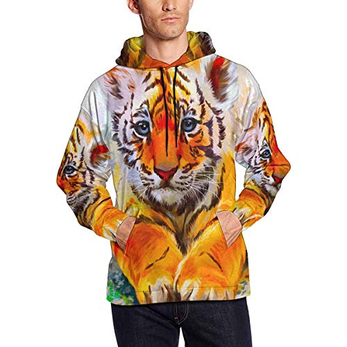 Little Tiger Watercolor Men's Hoodies Sweatshirt Pullover XL