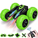 VAZILLIO Remote Control Stunt Car, 2.4 GHz RC Stunt Car Toy, Stand 360° Rotate Hot Speed Racing Car with Rechargeable Battery, Perfect as Christmas New Year Birthday Gifts for Boys and Girls (Green)