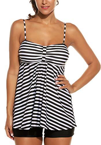 Avidlove Women Retro Sailor Stripe Dot Tankini Set Two Pieces Swimsuit Spaghetti Strap Swim Top and Bottoms Black XL