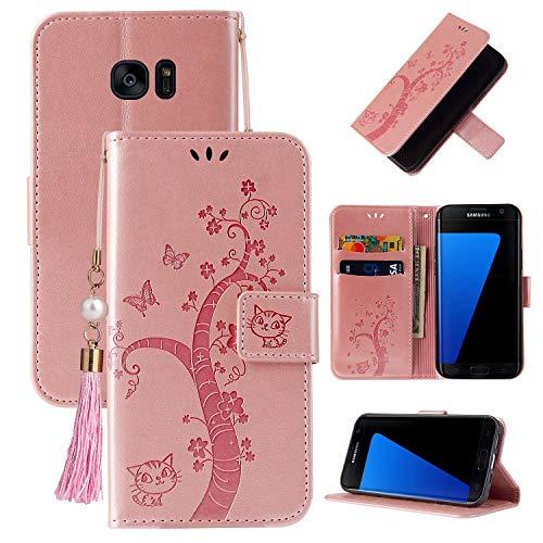 Miagon Portefeuille Flip Coque pour Samsung Galaxy S7 Edge,Charmant Papillon Arbre Chat Désign PU Cuir Étui Livre Style Supporter Fonction Housse Cover,Or rose