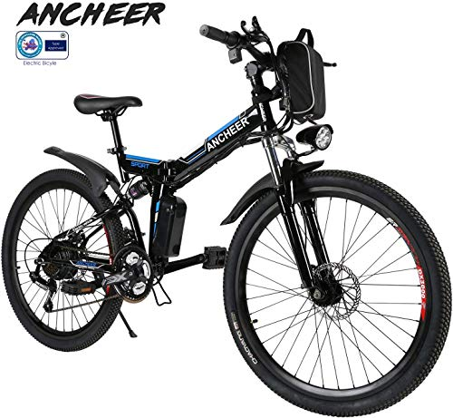 ANCHEER Folding Electric Mountain Bike, 26'' Electric Bike with 36V 8Ah Lithium-Ion Battery, Full Suspension