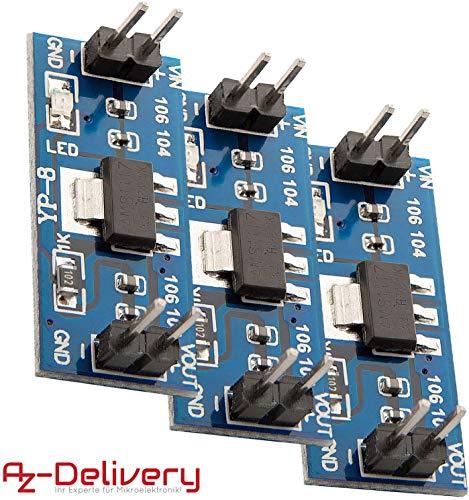 AZDelivery 3 x AMS1117 regulador de voltaje 3.3V modulo para Arduino y Raspberry Pi con eBook incluido
