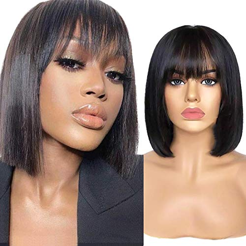 Longjia Show Straight Bob Wigs with Bangs 12inch 9A Brazilian Remy Human Hair Wigs with Bangs Machine Made None Lace Front Wigs with Bangs Short Bob Bang Wigs for Black Women