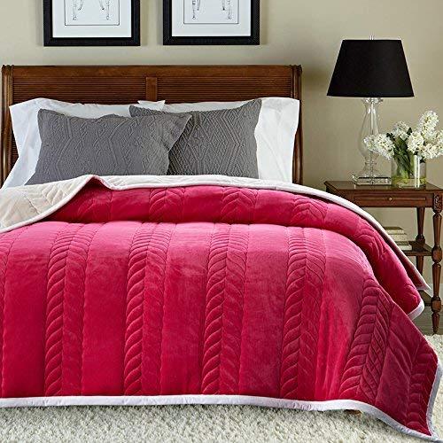 Mariisay Double Dick Automne Et Hiver Chic Chaud Casual Dortoir Coral Fleece Dorm Couverture 150 X 200 Cm Rose Rouge Simplicité Style Classique De La Mode (Color : Colour, Size : Size)